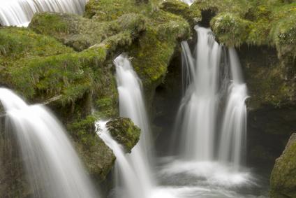 Beautiful waterfall in  austria, europe, Traunfall